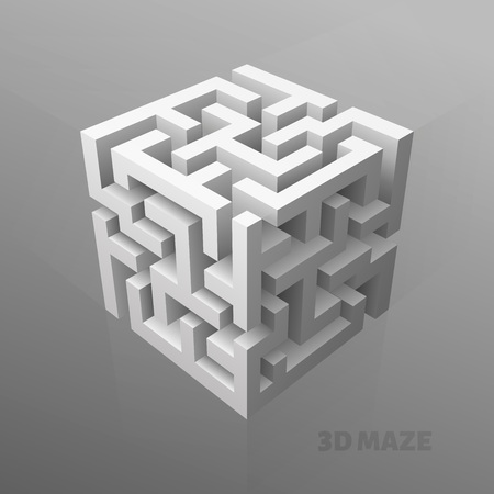 The maze cube cover or poster Иллюстрация