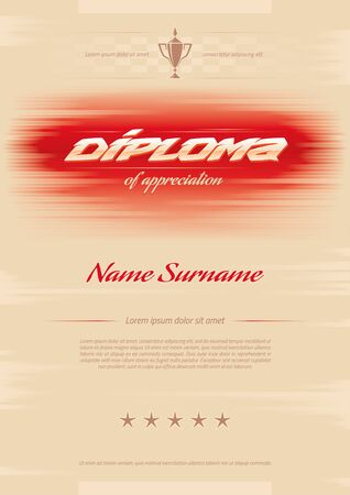 Certificate awards diploma. horizontal in A4 size pattern.