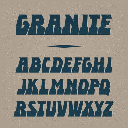Granite vector font. Strong alphabet lettering. Latin letters.