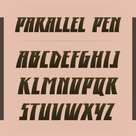 Parallel pen vector font. Strong alphabet lettering. Latin letters.