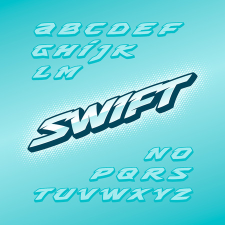 Swift fast strong futuristic alphabet lettering. Vector font. Latin letters. Illustration