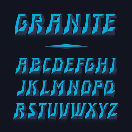 Granite vector font. Strong alphabet lettering. Latin letters.