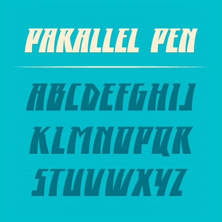 alphabetic character: Parallel pen vector font. Strong alphabet lettering. Latin letters.