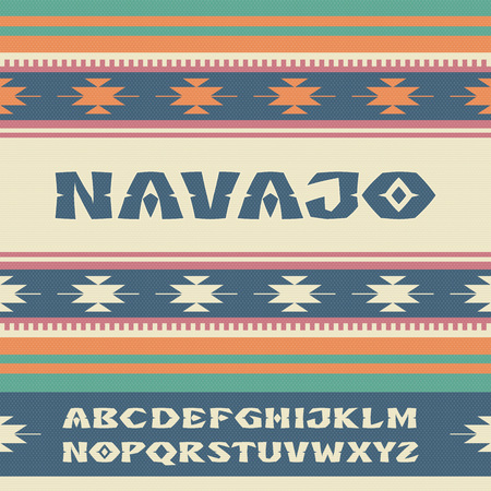 Navajo Font. Alphabet lettering. Latin letters on Indian tribes ornament