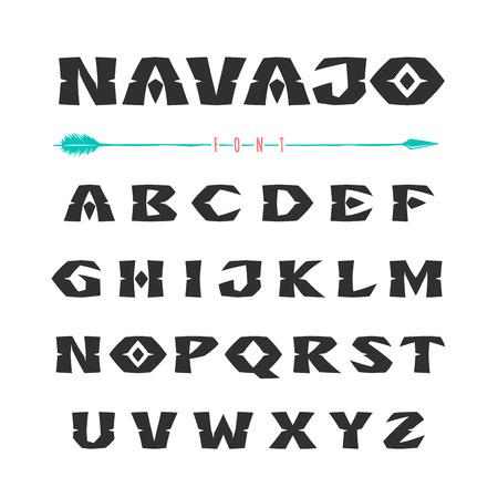 Navajo. Lettertype in de stijl van ornamenten van Indiase stammen