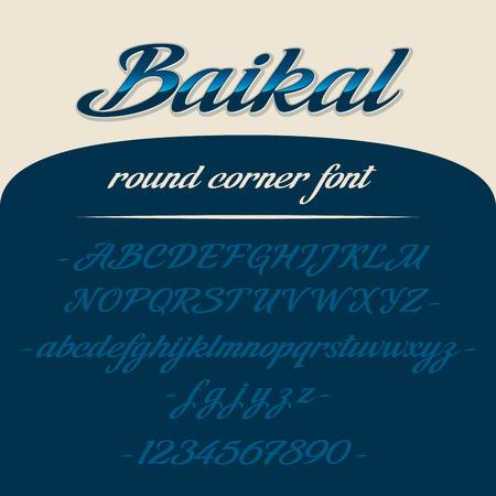 Baikal alphabet lettering. Vector font. Latin letters