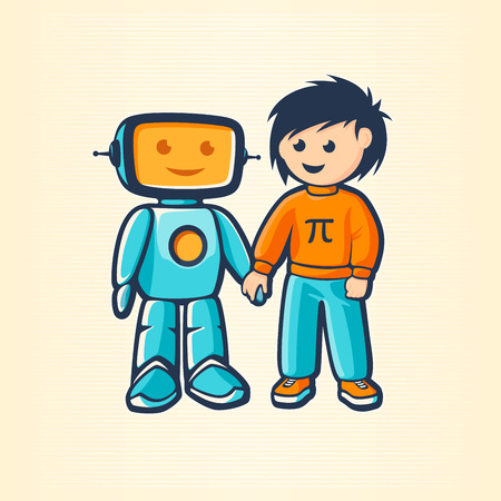 A boy and a robot holding hands. Friendship concept, vector illustration.