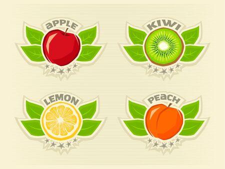 Logo set of lemon, kiwi, apple, peach for fresh labels splash sticker Иллюстрация
