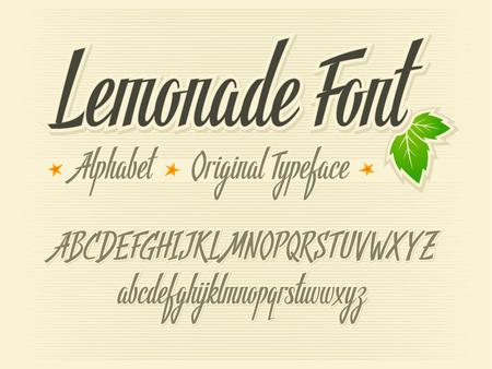 Handwritten lettering vector Lemonade font aphabet