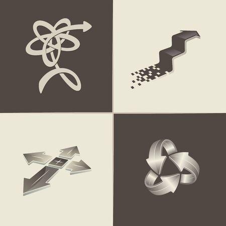 Abstract arrow logo. Icon set