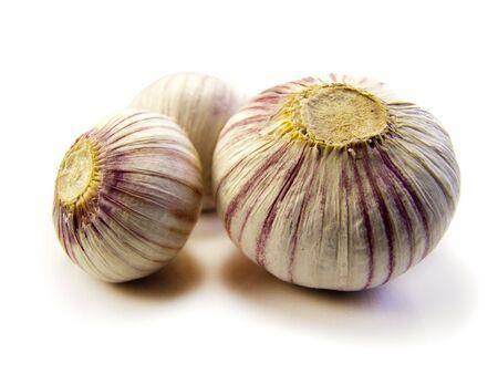 garlics: Three Garlics shot on a white background