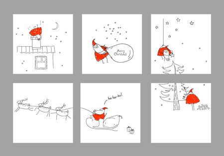 Set scenes with Santa Claus. Merry christmas. Xmas sketch. Hand-drawn elements for New Years design. Collection of banners, party invitations, scrapbooking, cards, stickers. Red, black, white Illustration