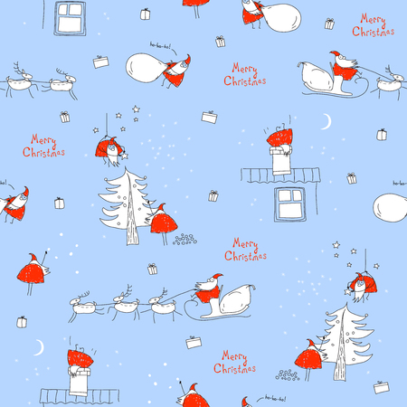 Seamless pattern Merry Christmas. Santa Claus, sleigh, reindeer, Christmas tree, house, chimney, gifts, snow. Christmas background. Xmas sketch. Hand-drawn illustration for New Years design.