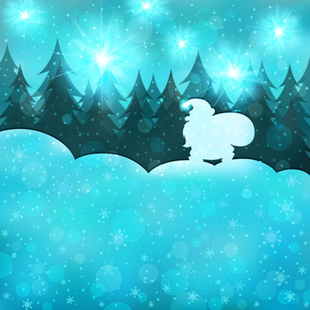 snowdrifts: Merry Christmas, Happy New Year. Santa Claus goes through the woods with bag of gifts. Winter landscape, snow, snowflakes, snowdrifts. Greeting card. Creative artistic design with space for your text.