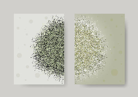 artistic background: Abstract background with cloud of dust, glitter, sand. Set of artistic creative universal cards. Elegant cover, flyer, poster, invitation, placard, brochure, banner. A4 size. Vector illustration eps10