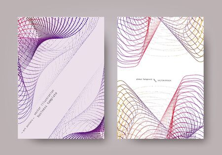 Universal template for covers, flyers, banners, posters and placards, presentations, books. Coloured filaments, loops and spirals on a light background. Set business cards. EPS10 vector. A4 Size