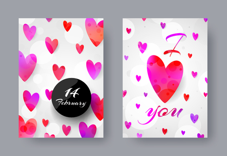 universal love: Set of universal cards. Rainbow hearts, white background. Creative artistic design for banner, poster, invitation, placard, brochure, flyer. Valentines day, party, 14 February, anniversary. Standard A4 size. Vector illustration.