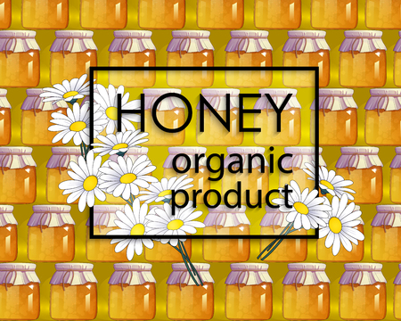 mead: Natural honey and flowers. Organic food. Ecological product. Frame with text. Decor elements for web sites, banners, cards, posters, flyers, advertising. Abstract background. Vector illustration Illustration