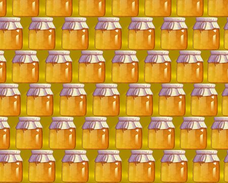 mead: Seamless pattern with honey. Natural dessert. Ecological product. Organic food. Bright decorated background for web sites, banners, greeting cards, posters, flyers, advertising. Vector illustration
