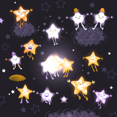 lullaby: Stars in the night sky. Set of cute cartoon asterisk for design websites, advertising, printing products. Good night, lullaby. Children abstract background. Hand drawn vector illustration Illustration