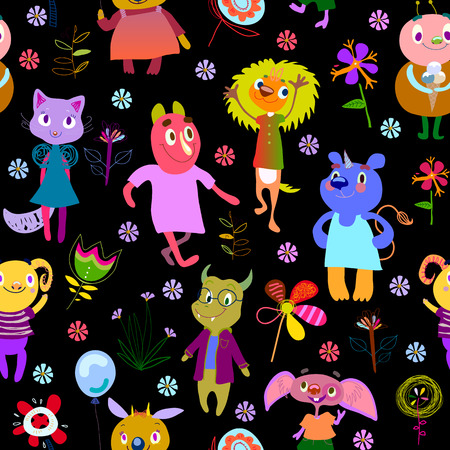Jolly debonair monsters. Seamless pattern with funny fantastic characters and unusual flowers. Bright colorful background for children design. Summer collection. Black backdrop. Vector illustration Illustration