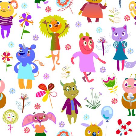 debonair: Jolly debonair monsters. Seamless pattern with funny fantastic characters and unusual flowers. Bright colorful background for children design. Summer collection. White backdrop. Vector illustration