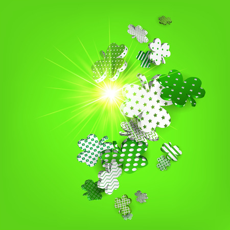 Happy St. Patricks Day. 3d model falling leaf clover. Abstract background of shamrocks. Isolated element. Irish decor for websites, banners, cards, posters, flyers, advertising. Vector illustratio