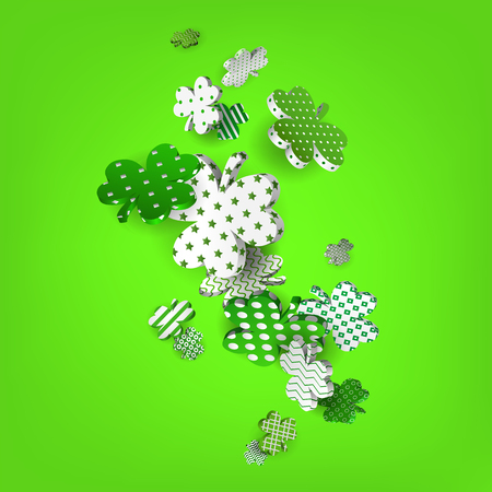 Happy St. Patricks Day. 3d model falling leaf clover. Abstract background of shamrocks. Isolated element. Irish decor for websites, banners, cards, posters, flyers, advertising. Vector illustration