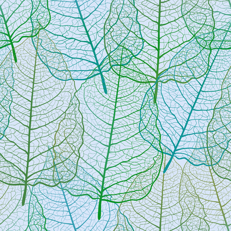 Green Seamless pattern with openwork leaves. Spring background. Green and blue skeletonized foliage. Handmade. Иллюстрация