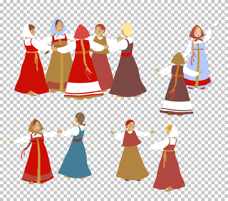 Russian girls in traditional clothes dance. A set of cartoon characters. Summer, round dance. National traditions, history, legends and epic. Thematic collection for design. Vector illustration EPS10 Illustration