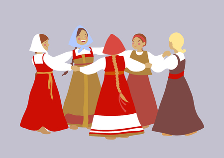 rite: Russian girls in traditional clothes dance. Group of cartoon characters. Summer, round dance. National traditions, history, legends and epic. Thematic collection for design. Vector illustration EPS10