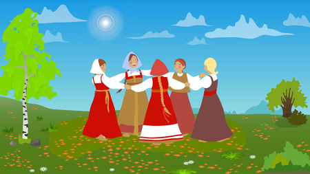 Russian girls in traditional clothes dance in the meadow. Group of cartoon characters. Summer, round dance. National traditions, history, legends and epic. Thematic collection for design. Vector EP