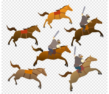 Set of cartoon characters horses and Russian riders. Fantastic heroes of old national legends. Characters of Slavic tales and epic. A sample from the thematic collection for design. Vector ePS10
