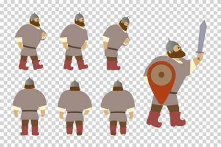 A set of cartoon characters Russian warriors. Fantastic heroes of old national legends. Characters of Slavic tales and epic. A sample from the thematic collection for design. Vector illustration EPS10