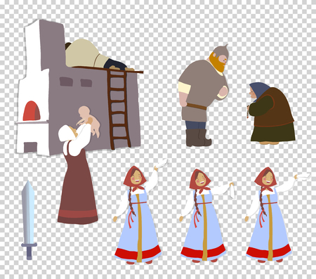 Russian warrior and his family: the bride, mother, wife, sister, child. A set of cartoon characters. National traditions, history, legends and epic. Thematic collection for design. Vector ePS10