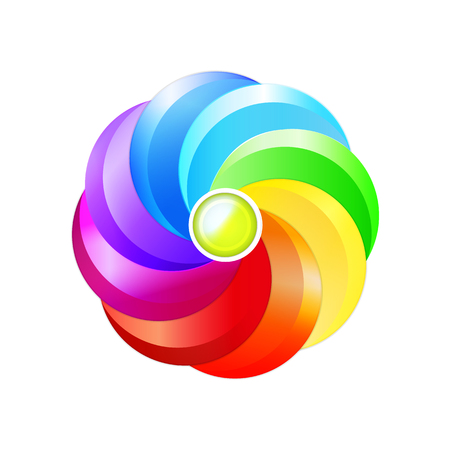 positive energy: Round volumetric element for design. Color circle, rainbow, palette, flower, concept multicolored abstract.