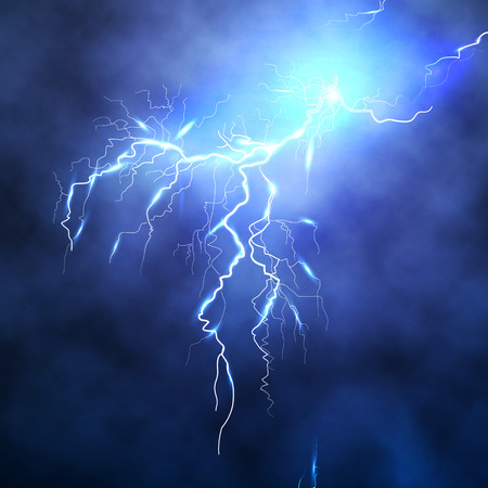 Lightning discharge in the expressive night sky with cloudiness. Thunderstorm, tempest, bad weather. Ground lightning, elves. Realistic vector illustration of EPS10.