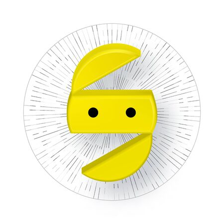 3d Abstract yellow round face. Illustration