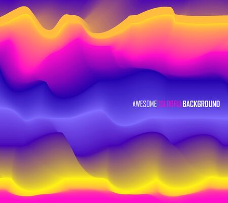 curvature: Abstract blurred wavy background with effect of volume. Bright abstraction: yellow, pink, purple, purple. Vector illustration Illustration