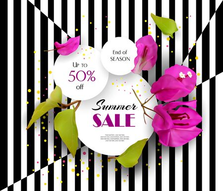 Summer Sale. Discounts. End of season. Concept. Advertising illustration with tropical flowers. Illustration