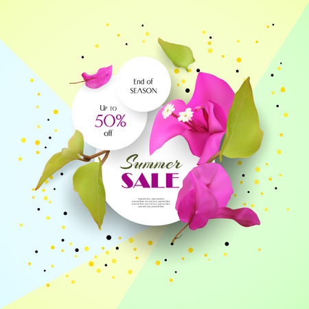 Summer Sale. Discounts. End of season. Concept. Advertising with tropical flowers. Template. Vector illustration.