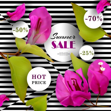Summer Sale. Discounts. End of season. Concept. Advertising background with tropical flowers. Template. Vector illustration. Иллюстрация