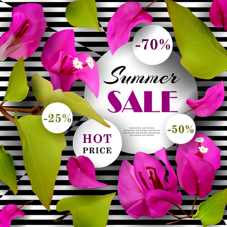 Summer Sale. Discounts. End of season. Concept. Advertising background with tropical flowers. Template. Vector illustration. Illustration