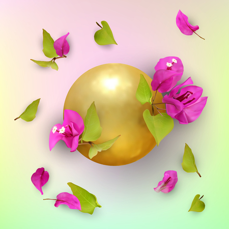 3D. Golden ball with tropical flowers, buds, leaves and petals. Bougainvillea. Abstract summer pattern. Symbol of prosperity and welfare. Vector illustration