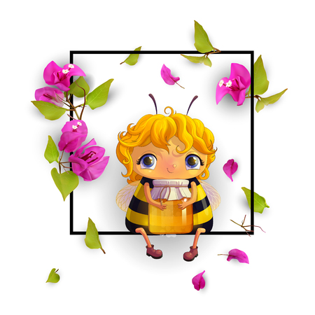 Cute bee with honey and tropical flowers Bougainvillea in a frame. Animated character. Isolated, on white background. Advertising honey. 3d. Vector illustration EPS10 Illustration