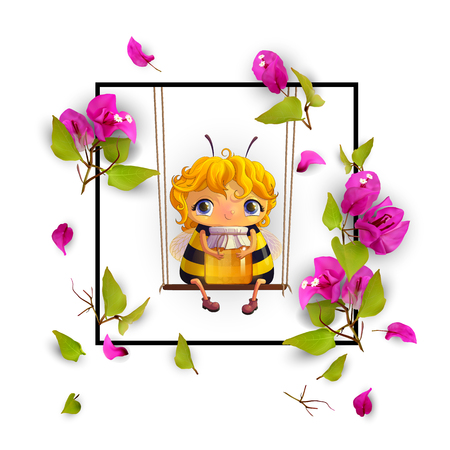 Cute bee with honey and tropical flowers Bougainvillea in a frame. Animated character. Isolated, on white background. Advertising honey. 3d. Vector illustration EPS10 Vectores