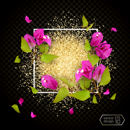 Frame with tropical flowers bougainvillea and cloud of golden dust. Isolated, dark background. Vector illustration of EPS10