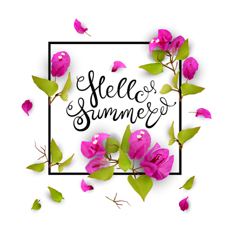 Hello summer. Lettering. 3d. Tropical flowers in a frame. Isolated illustration on white background. Vector background. Illustration