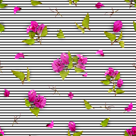 夏や春紫熱帯の花、落ちた花びら白地に葉とシームレスなパターン。リアルな植物。ブーゲンビリア。ベクトル イラスト EPS 10