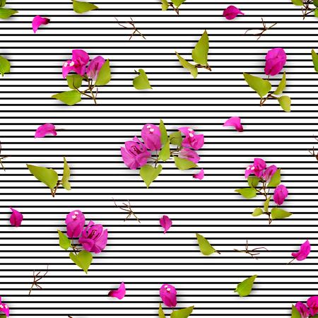 보라색 열 대 꽃, 타락 한 꽃잎과 흰색 배경에 잎 여름 또는 봄 원활한 패턴. 현실적인 식물. 부겐빌레아. 벡터 일러스트 레이 션 EPS 10